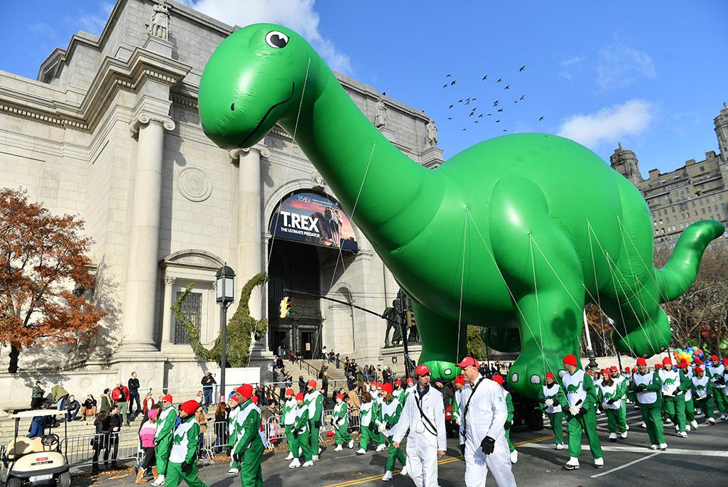 Coach dinosaur balloon at the Macy's Thanksgiving Parade 2019.