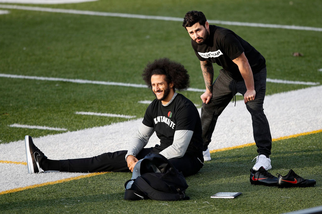 Colin Kaepernick, air force 1 low, nfl workout, atlanta, georgia, november 2019, shoes, sneakers, shoe detail