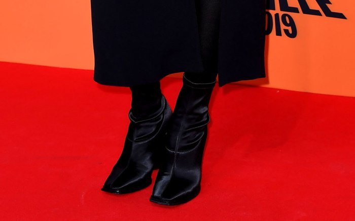 Dua Lipa, jimmy choo shoes, boots, square toes, black booties, red carpet, celebrity style, mtv emas, european music awards