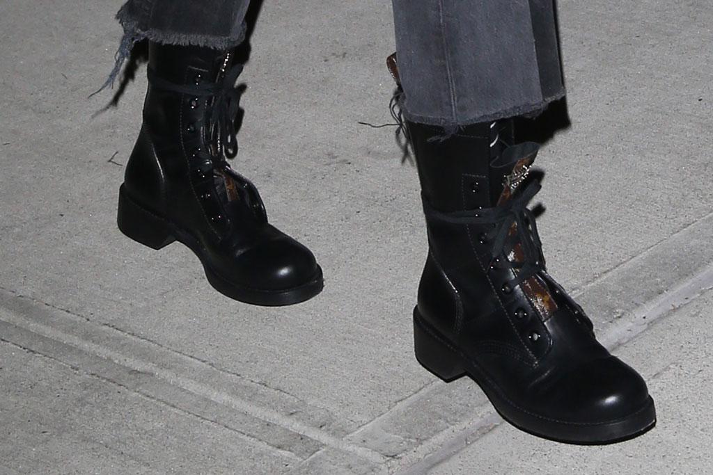 Gigi Hadid, combat boots, street style, NYC, shoe detail, louis vuitton