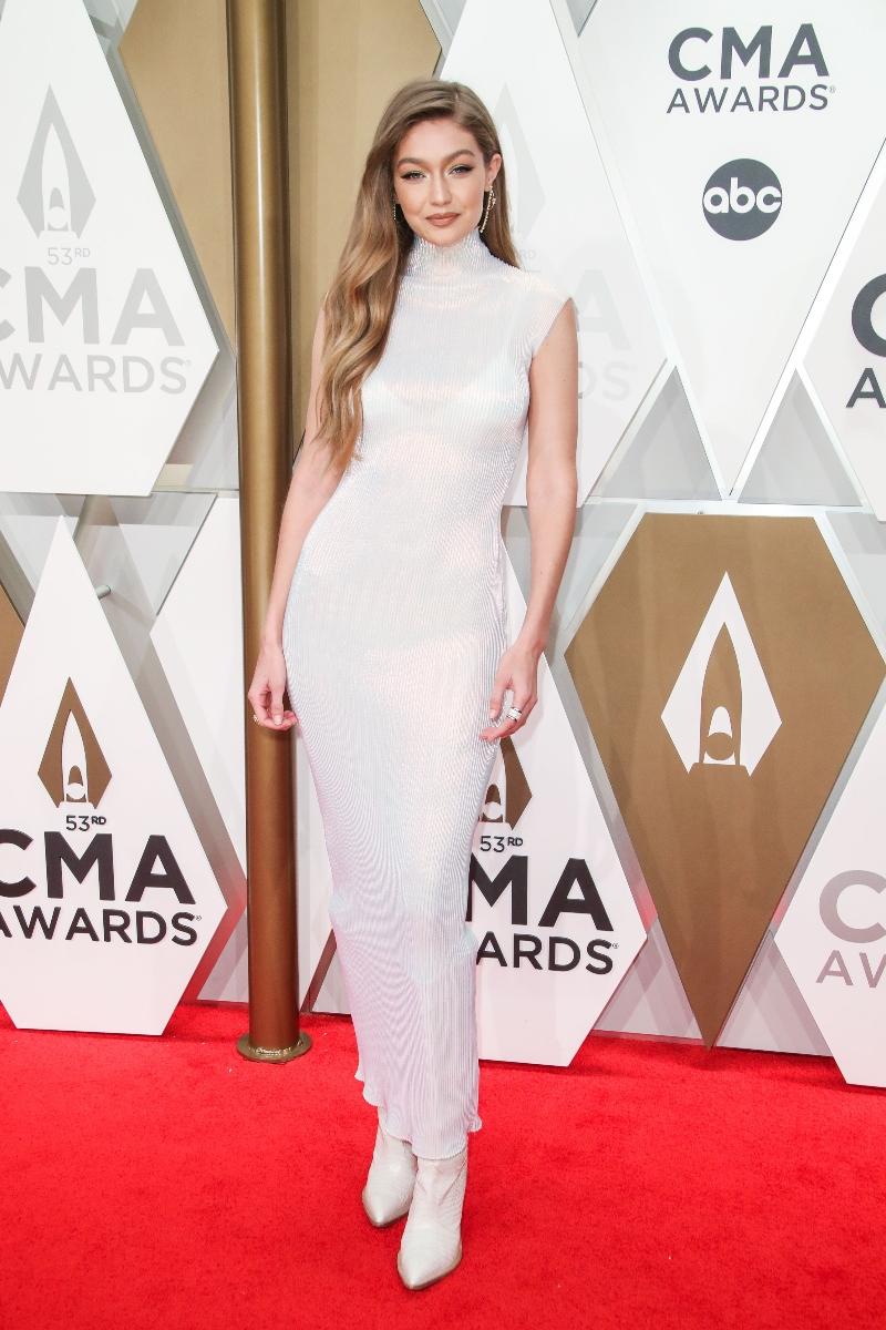 gigi hadid, cma awards, white dress, cowboy boots, white boots