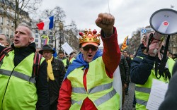 Gilets Jaunes marching in Paris.