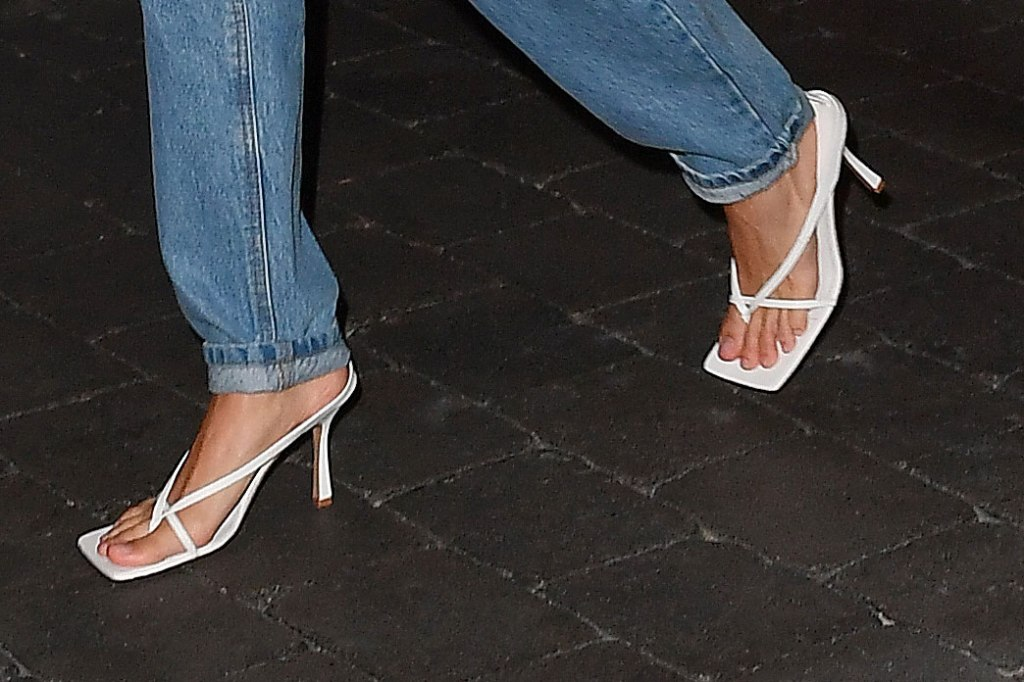 Hailey Baldwin, bottega veneta, square toes, sandals, white shoes, thong sandals, mom jeans, pedicure, toes, miami
