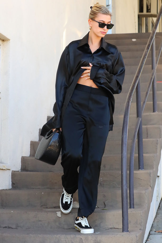 Hailey Baldwin, alexander wang, satin pajamas, celebrity style, los angeles, california, crop top, abs, blond hair, la, vans x rhude sneakers