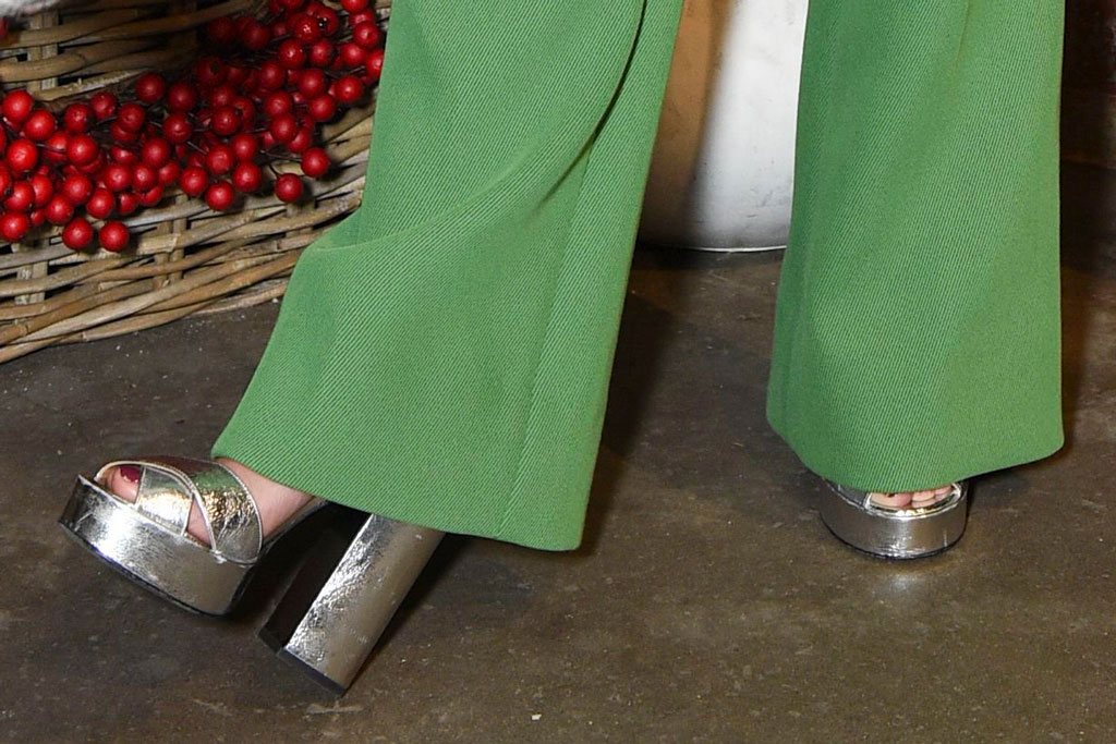 Hilary Duff, platforms, green pantsuit, silver sandals, celebrity style, and Sasha AbelsonLove Leo Rescue 2nd Annual Cocktails for a Cause, Rolling Greens, Los Angeles, USA - 06 Nov 2019