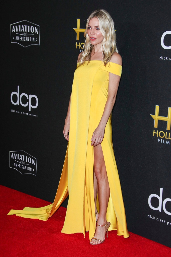 Sienna Miller, cong tri, yellow dress, legs, celebrity style, gold sandals, 23rd Annual Hollywood Film Awards, Arrivals, Beverly Hilton, Los Angeles, USA - 03 Nov 2019Wearing Cong Tri