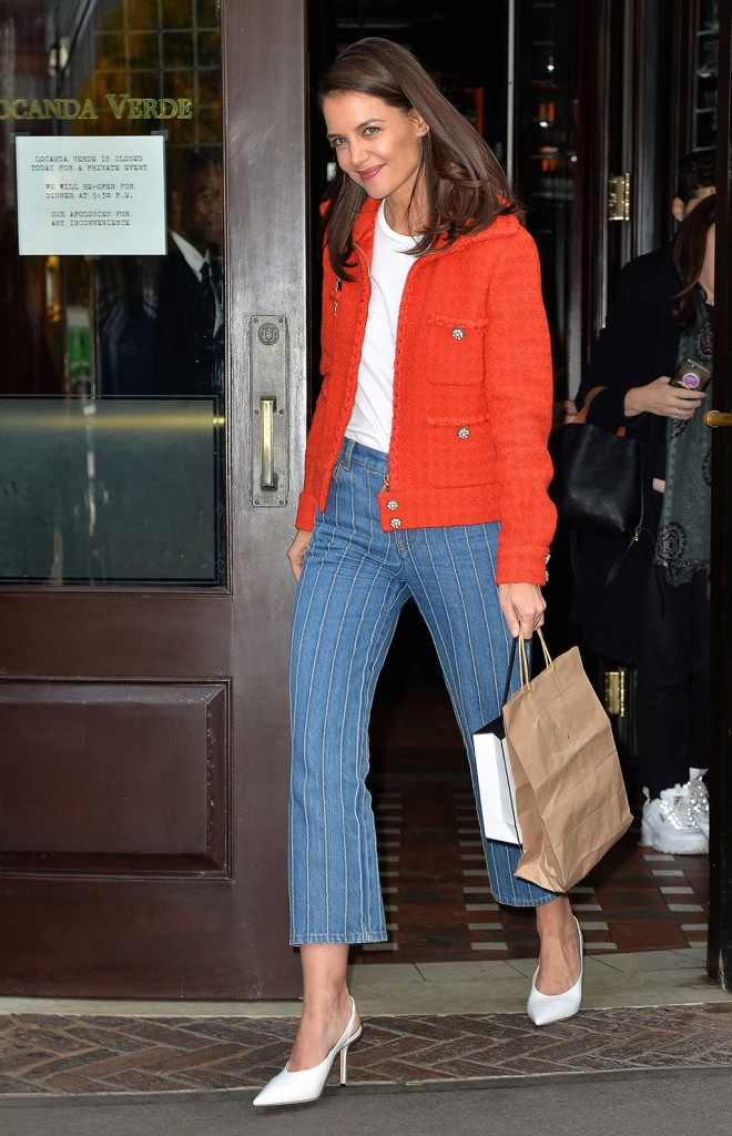 Katie Holmes, white pumps, jimmy choo shoes, red tweed jacket, chanel fall 2019, chanel purse, Through Her Lens: The Tribeca Chanel Women's Filmmaker Program Luncheon, New York, USA - 04 Nov 2019Wearing Chanel Same Outfit as catwalk model *10129489atKatie HolmesThrough Her Lens: The Tribeca Chanel Women's Filmmaker Program Luncheon, Arrivals, New York, USA - 04 Nov 2019Wearing Chanel Same Outfit as catwalk model *10129489at