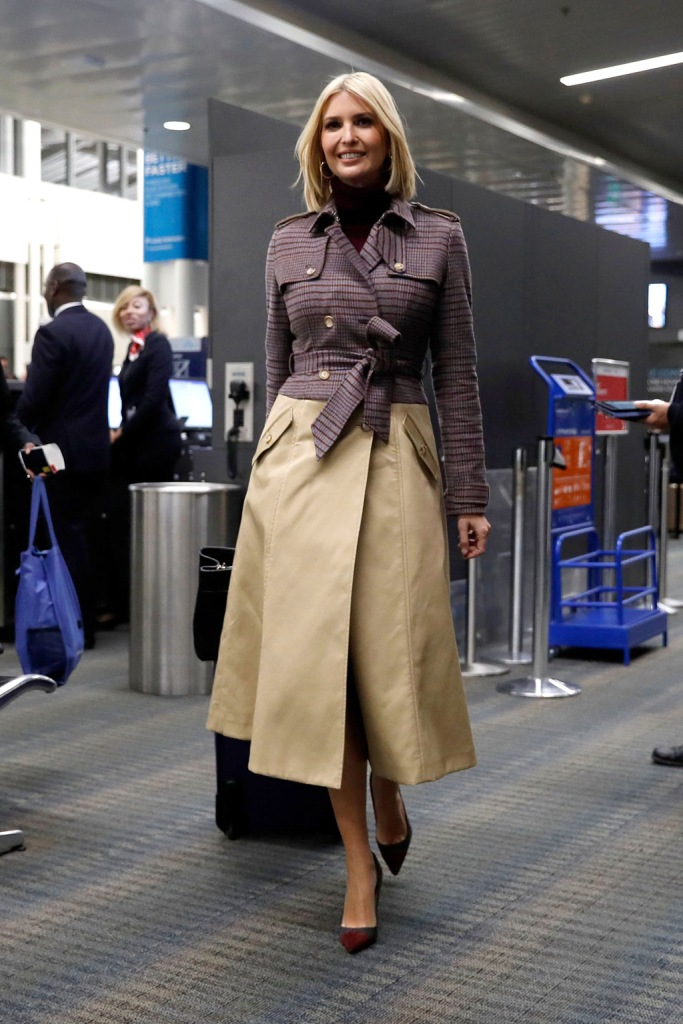 ivanka trump, gabriela hearst, trench coat, two-tone pumps, stilettos, celebrity style, airport style, turtleneck, blonde hair, White House Adviser Ivanka Trump walks through a terminal at Dulles International Airport, in Sterling, Va., to board a commercial flight en route to Morocco, where she will promote a global economical program for womenUS Morocco Ivanka Trump, Sterling, USA - 05 Nov 2019