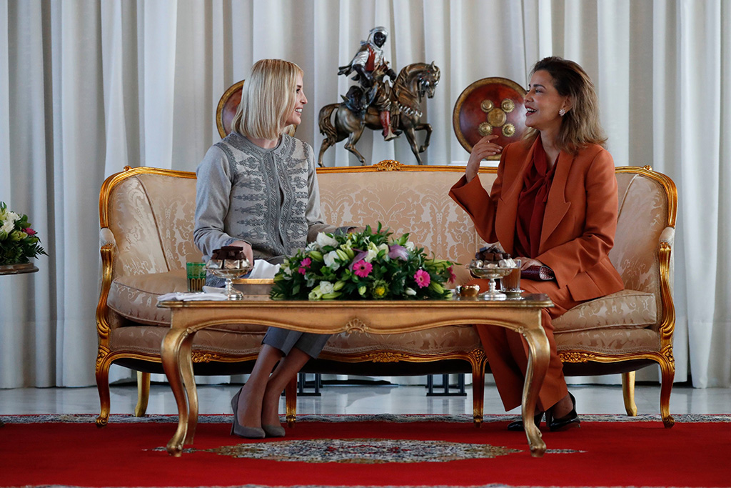 Ivanka Trump, Lalla Meryem. Ivanka Trump, the daughter and senior adviser to President Donald Trump, is greeted by Princess Lalla Meryem of Morocco as she arrives in Rabat, Morocco, where she will promote a global economical program for womenUS Ivanka Trump, Rabat, Morocco - 06 Nov 2019