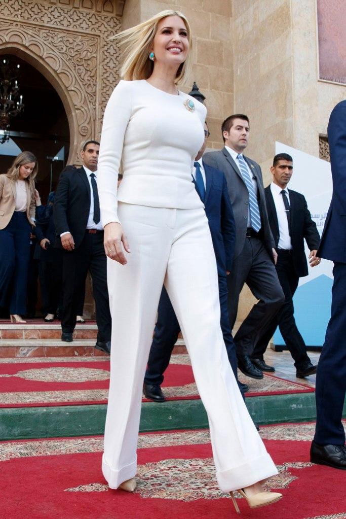 Ivanka Trump, white shirt, pants, nude pumps, pointed-toe pumps, rabat, morocco