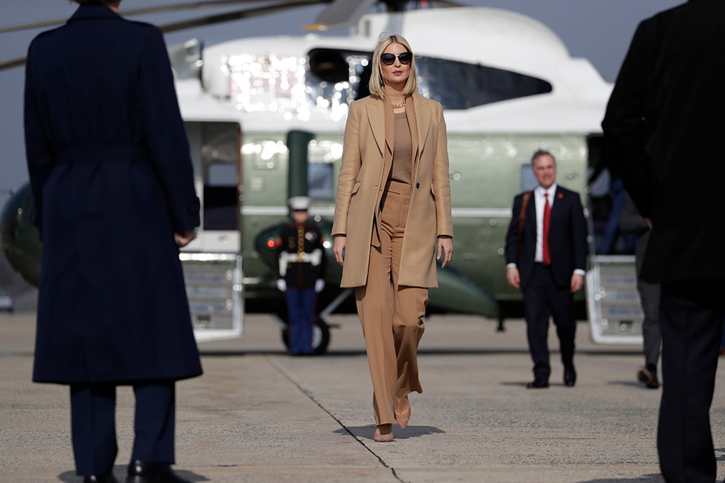 Ivanka Trump, beige, monochrome, pantsuit, coat, stilettos, power pumps, daughter and adviser to President Donald Trump, boards Air Force One for a trip to Austin, Texas to visit an Apple manufacturing plant, in Andrews Air Force Base, MdTrump, Andrews Air Force Base, USA - 20 Nov 2019