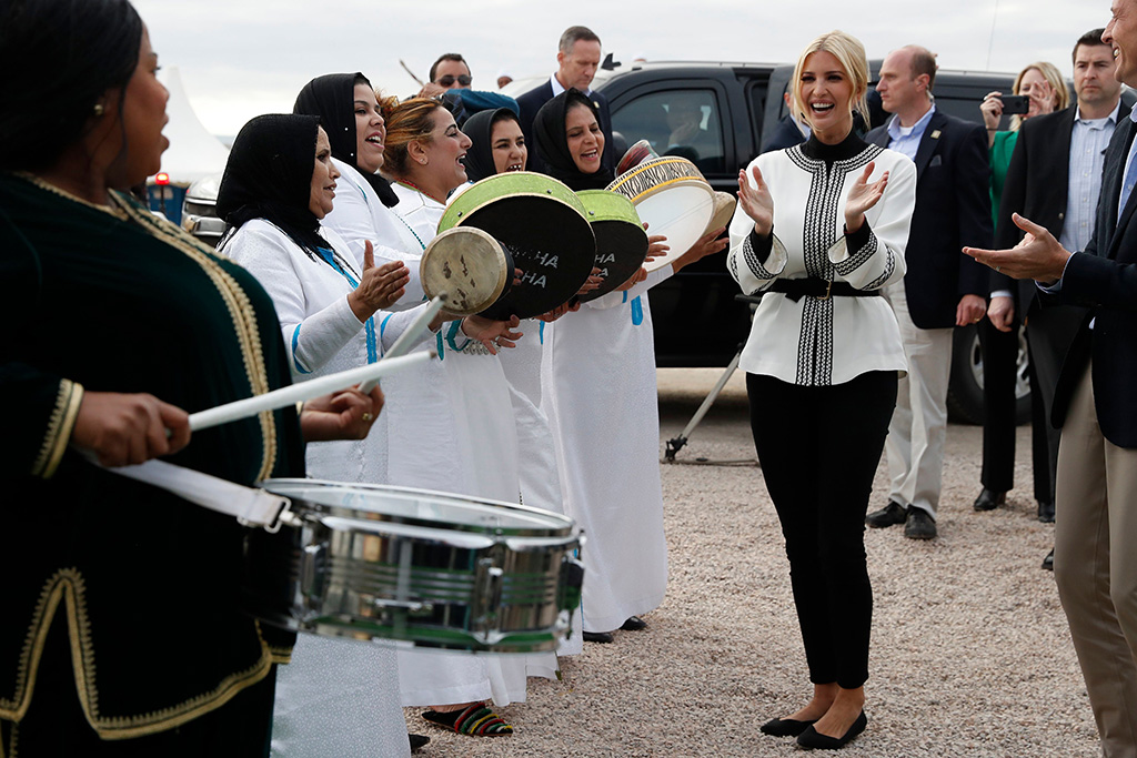 Ivanka Trump, rothy's, the point, flats, white shirt, black pants, celebrity style, first daughter, the daughter and senior adviser to President Donald Trump is greeted by drummers as she arrives at a ceremony in the province of Sidi Kacem, Morocco, at an olive grove collective where Trump met with local women farmers who are benefitting from changes allowing them to inherit landUS Ivanka Trump, Sidi Kacem, Morocco - 07 Nov 2019