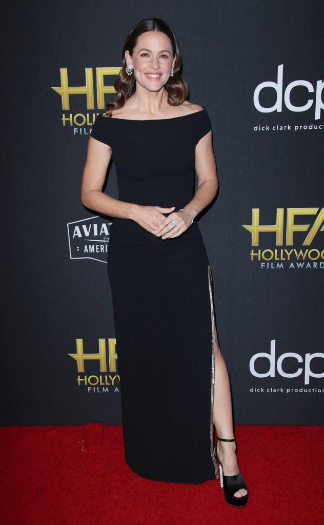 Jennifer Garner, black gown, celebrity style, legs, red carpet, sophia webster sandals, crystal embellished sandals, 23rd Annual Hollywood Film Awards, Arrivals, Beverly Hilton, Los Angeles, USA - 03 Nov 2019
