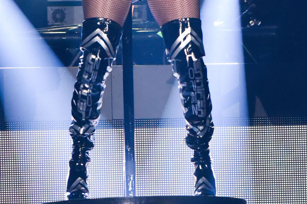 J-Lo, jennifer lopez, michael ngo spring 2019, boots, thigh-highs, legs, fishnets, iheartradio fiesta latina,