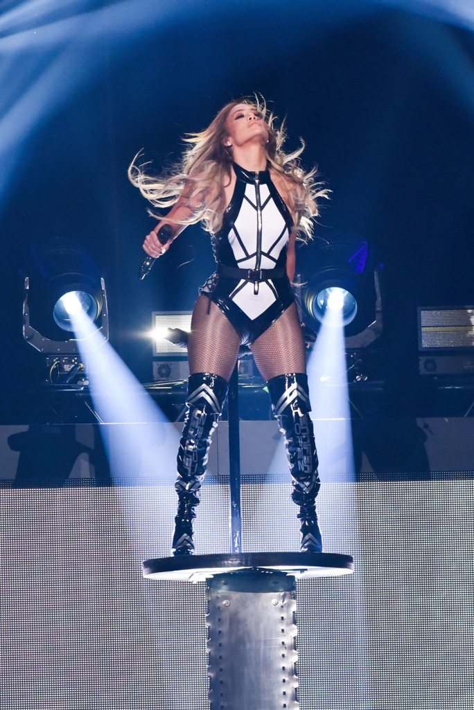 Jennifer Lopez, michael ngo, bodysuit, thigh-highs, thigh high boots, black and white, bodysuit, fishnets, legs, iHeartRadio Fiesta Latina, Show, American Airlines Arena, Miami, Florida, USA - 02 Nov 2019