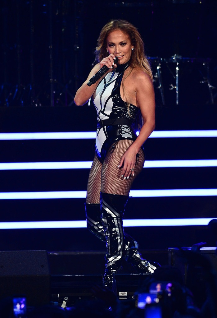 Jennifer Lopez, michael ngo, bodysuit, thigh-highs, thigh high boots, black and white, bodysuit, fishnets, legs, iHeartRadio Fiesta Latina, Show, American Airlines Arena, Miami, Florida, USA - 02 Nov 2019Jennifer LopeziHeartRadio Fiesta Latina, Show, American Airlines Arena, Miami, Florida, USA - 02 Nov 2019