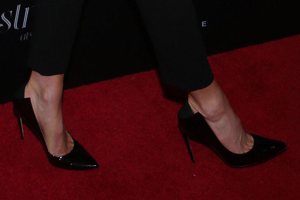 Kate Beckinsale, shiny black pumps, black pants, white jacket, celebrity fashion, Christmas At The Grove, Arrivals, Los Angeles, USA - 17 Nov 2019