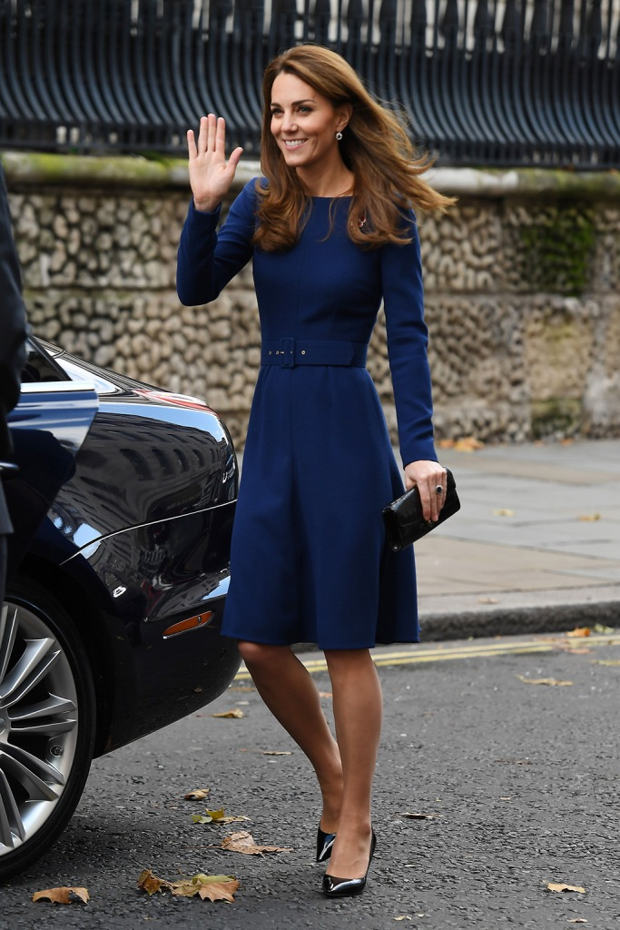 kate middleton, women of the first world war commemorative brooch, blue dress, emilia wickstead dress, jimmy choo pumps, Catherine Duchess of CambridgeNational Emergencies Trust launch, St. Martin-in-the-Fields, Kings Cross, London, UK - 07 Nov 2019 Catherine Duchess of CambridgeNational Emergencies Trust launch, St. Martin-in-the-Fields, Kings Cross, London, UK - 07 Nov 2019