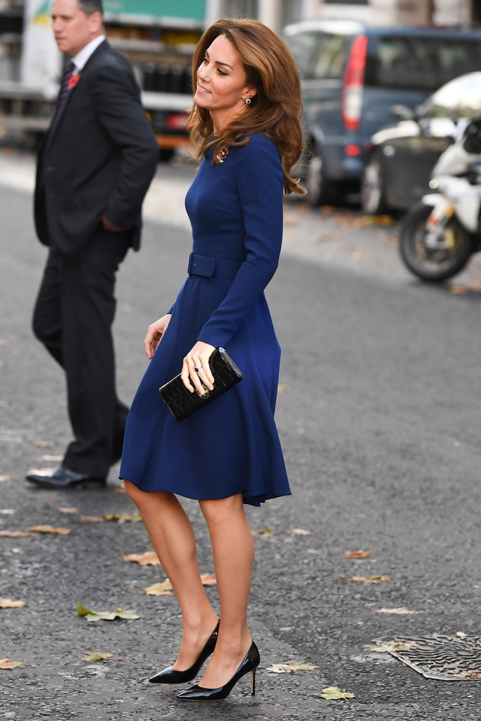 kate middleton, women of the first world war commemorative brooch, blue dress, emilia wickstead dress, jimmy choo pumps, Catherine Duchess of CambridgeNational Emergencies Trust launch, St. Martin-in-the-Fields, Kings Cross, London, UK - 07 Nov 2019