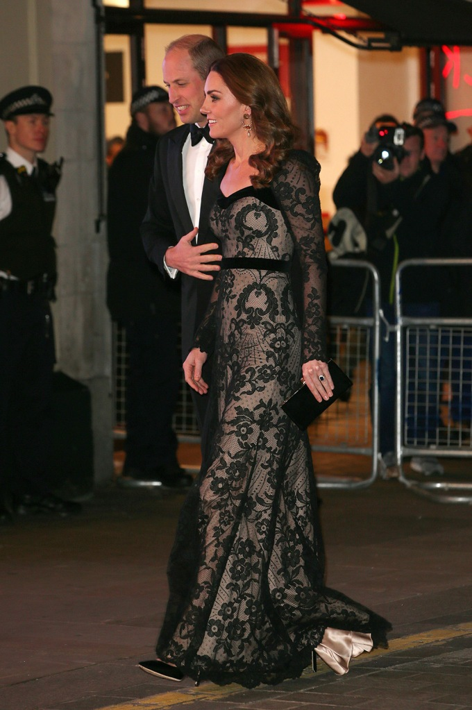 kate middleton, alexander mcqueen dress, prince williams, pda, classic black pumps, stilettos, shoe style, alexander mcqueen gown, Catherine Duchess of Cambridge and Prince WilliamThe Royal Variety Performance, Arrivals, London Palladium, UK - 18 Nov 2019 Catherine Duchess of Cambridge and Prince WilliamThe Royal Variety Performance, Arrivals, London Palladium, UK - 18 Nov 2019