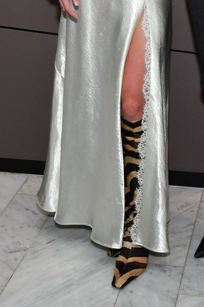 Katie Holmes, khaite, legs, celebrity style, satin dress, philosophy dress, square toe trend, knee high boots, zebra print, shoe detailFilmAid 'Power Of Film' Benefit screening, The Standard High Line, New York, USA - 06 Nov 2019