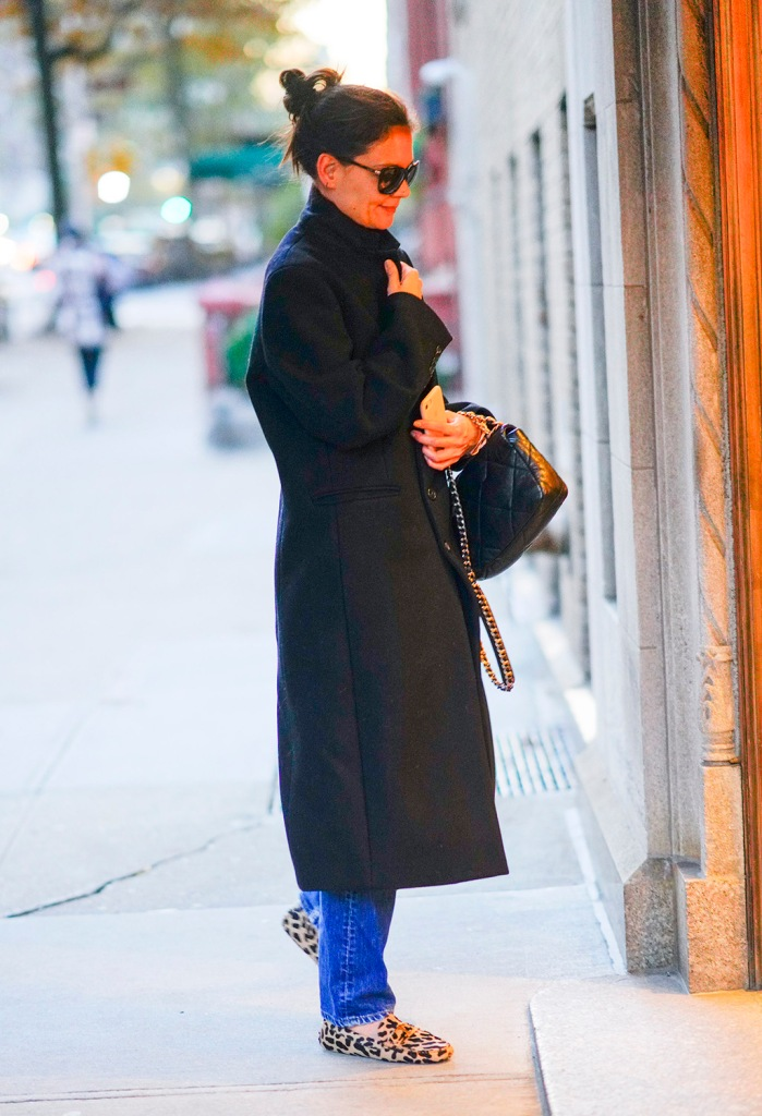 Katie Holmes, black jacket, mom jeans, leopard-print shoes, loafers, animal print trend, fall fashion, black coat, handbag, sunglasses, out and about in New YorkPictured: Katie HolmesRef: SPL5131869 261119 NON-EXCLUSIVEPicture by: Jackson Lee / SplashNews.comSplash News and PicturesLos Angeles: 310-821-2666New York: 212-619-2666London: +44 (0)20 7644 7656Berlin: +49 175 3764 166photodesk@splashnews.comWorld Rights, No Portugal Rights