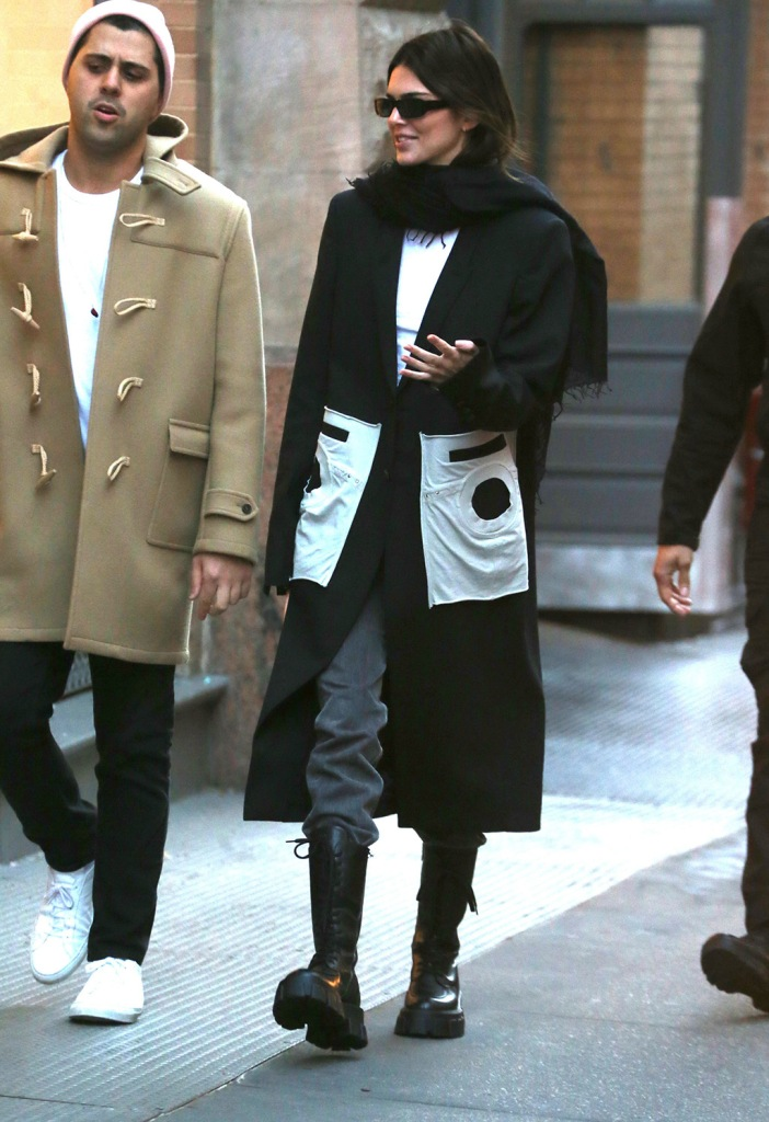 Kendall Jenner, celebrity style, street style, prada shoes, combat boots, jeans, black and white outfit, jacket, Kendall Jenner, Kendall Jenner out and about, New York, USA - 20 Nov 2019