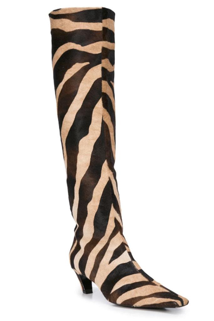 Khaite knee-high, zebra-print boots