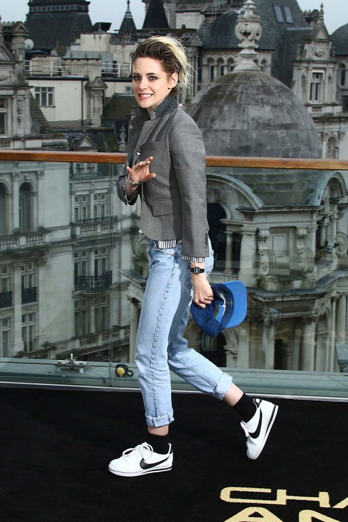 Kristen Stewart, blazer, jeans, baseball cap, nike cortez, white sneakers, celebrity style, pose for photographers upon arrival at the photo call 'Charlie's Angels', at a central London hotelCharlie's Angels Photo Call, London, United Kingdom - 21 Nov 2019