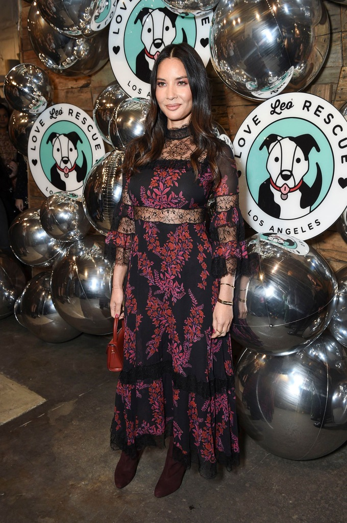 Olivia Munn, giambattista valli dress, aldo boots, celebrity style, Love Leo Rescue 2nd Annual Cocktails for a Cause, Rolling Greens, Los Angeles, USA - 06 Nov 2019Wearing Giambattista Valli