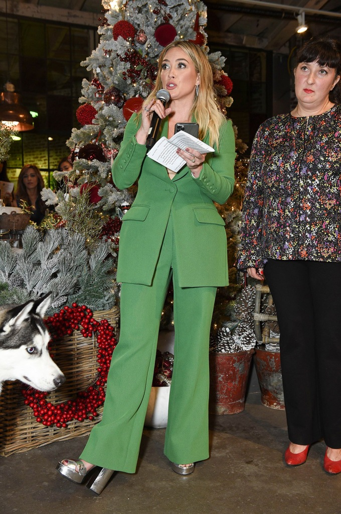Hilary Duff, green pantsuit, silver sandals, celebrity style, and Sasha AbelsonLove Leo Rescue 2nd Annual Cocktails for a Cause, Rolling Greens, Los Angeles, USA - 06 Nov 2019