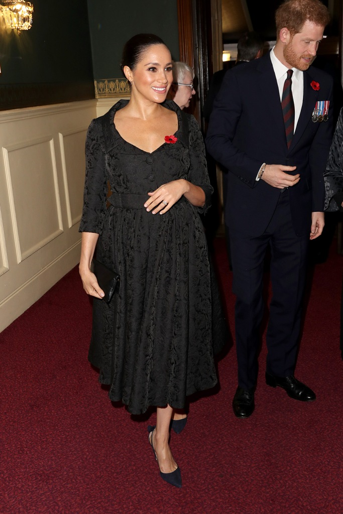 meghan markle, black dress, aquazzura shoes, black pumps, bow adorned heels, celebrity style, royal, Members of the Royal Family attend the Royal British Legion Festival of Remembrance at the Royal Albert Hall, London, UK, on the 9th November 2019. Picture by Chris Jackson/WPA-Pool. 09 Nov 2019 Pictured: Meghan Markle, Duchess of Sussex. Photo credit: MEGA TheMegaAgency.com +1 888 505 6342 (Mega Agency TagID: MEGA545473_005.jpg) [Photo via Mega Agency]