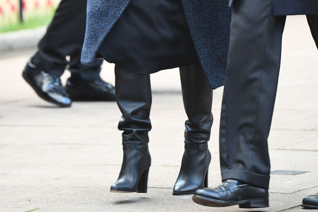Meghan Markle, slouch boots, black leather boots, royal style, westminster abbey