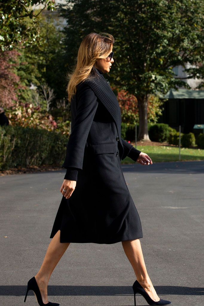 Melania Trump, coat, black outfit, stilettos, manolo blahnik shoes, bb pumps, sunglasses, washington, dc