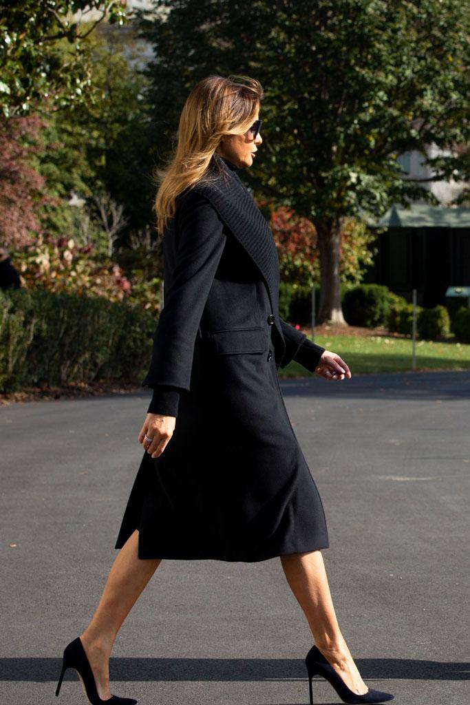 Melania Trump, coat, black outfit, stilettos, manolo blahnik shoes, bb pumps, sunglasses, washington, dc