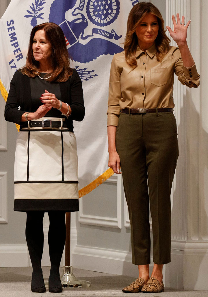melania trump, snake-print shoes, loafers, zara shoes, olive green pants, equipment shirt, leather button-down top, karen pence, black-and-white outfit, MELANIA; TRUMP; WASHINGTON; USA; 20; NOV; 2019; KAREN; PENCE; FIRST; LADY; RIGHT; WAVES; NEXT; WIFE; VICE; PRESIDENT; MIKE; AS; THEY; ARE; INTRODUCED; BEFORE; PACKING; COMFORT; KITS; BE; SENT; TROOPS; OVERSEAS; FOR; HOLIDAYS; AT; AMERICAN; RED; CROSS; NATIONAL; HEADQUARTERS; MICHAEL; UNITED; STATES; NORTH; AMERICA; DISTRICT; COLUMBIA; Politician; Writer; 85475025