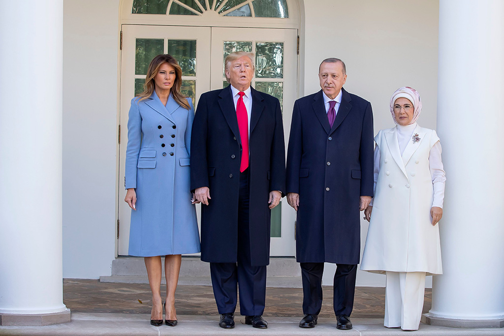 melania trump, blue coat, altuzarra, christian louboutin so kate pumps, stilettos, flotus, US President Donald J. Trump (2L) and First Lady Melania Trump (L) pose with Turkish President Recep Tayyip Erdogan (2R) and his wife, Emine Erdogan (R) at the West Wing Colonnade before entering the Oval Office after Erdogan's arrival at the White House in Washington, DC, USA, 13 November 2019. The visit comes one month after Turkey's invasion into northern Syria against the Kurds and on the first day of public impeachment hearings.Turkish President Erdogan visits the US President Trump at the White House., Washington, USA - 13 Nov 2019