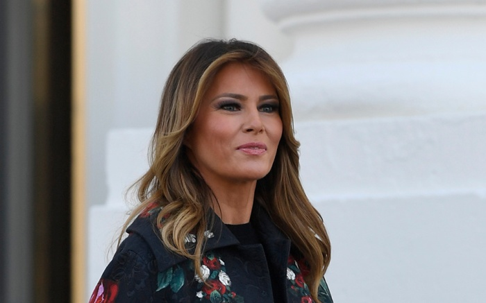 First lady Melania Trump walks out to take delivery of the 2019 White House Christmas tree as it arrives at the White House in Washington, . The Douglas fir is approximately 23 feet tall and was grown by Larry and Joanne Snyder at Mahantongo Valley Farms in Pennsylvania. Since 1966, the National Christmas Tree Association has held a contest that awards its winner with the honor of presenting their tree to the first family and will serve as a centerpiece for Christmas decorations in the Blue Room of the White HouseTrump Christmas Tree, Washington, USA - 25 Nov 2019