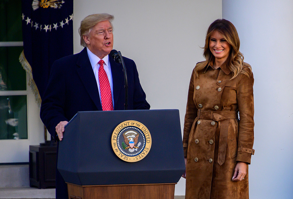 burberry brown coat, scrunch boots, United States President Donald Trump makes remarks as he and first lady Melania Trump present the National Thanksgiving Turkey in the Rose Garden of the White HouseNational Thanksgiving turkey presidential pardon, Washington DC, USA - 26 Nov 2019