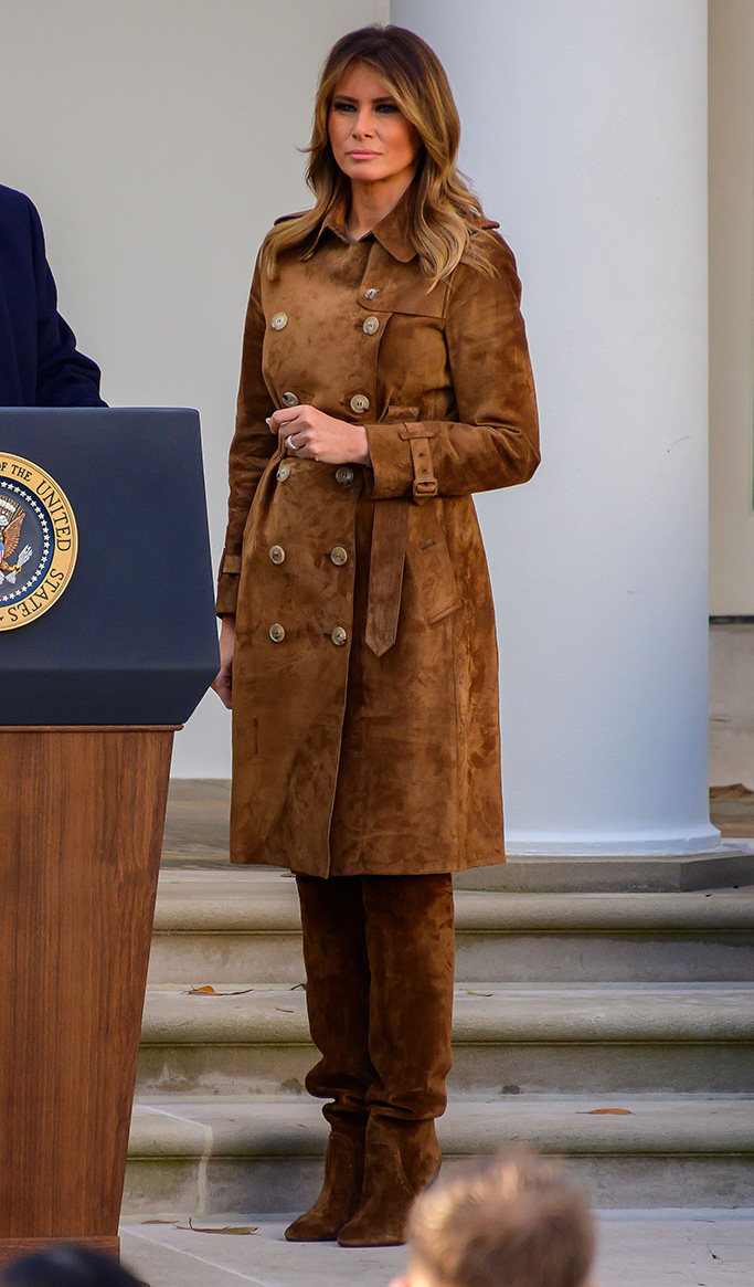 burberry brown coat, scrunch boots, First Lady Melania Trump present the National Thanksgiving Turkey in the Rose Garden of the White HouseNational Thanksgiving turkey presidential pardon, Washington DC, USA - 26 Nov 2019