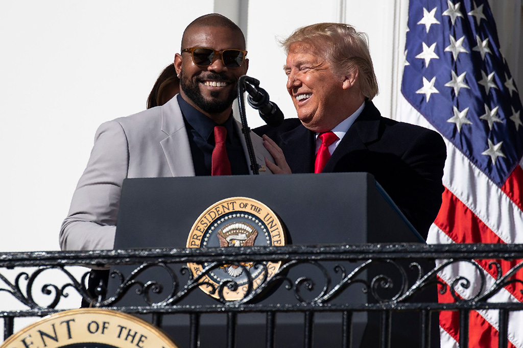 Donald Trump, Howie Kendrick. President Donald Trump invites Washington Nationals infielder Howie Kendrick to speak during an event to honor the 2019 World Series Champion, Washington Nationals baseball team, at the White House, in WashingtonTrump, Washington, USA - 04 Nov 2019