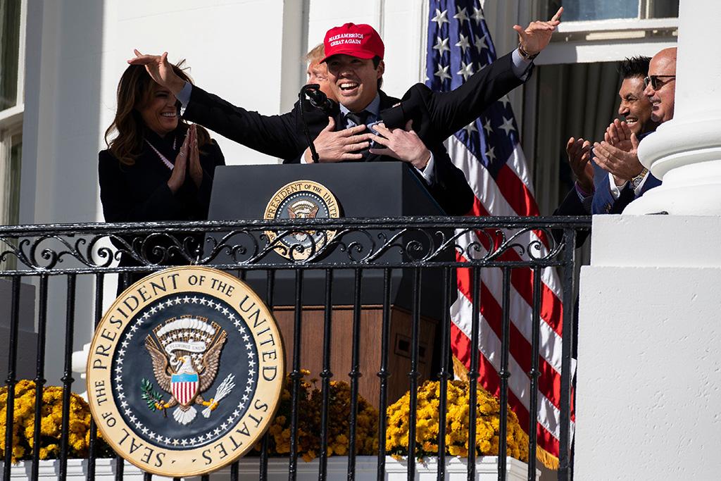 Donald Trump, Melania Trump, Kurt Suzuki. First lady Melania Trump laughs as President Donald Trump hugs Washington Nationals catcher Kurt Suzuki during an event to honor the 2019 World Series Champion, Washington Nationals, at the White House, in WashingtonTrump, Washington, USA - 04 Nov 2019