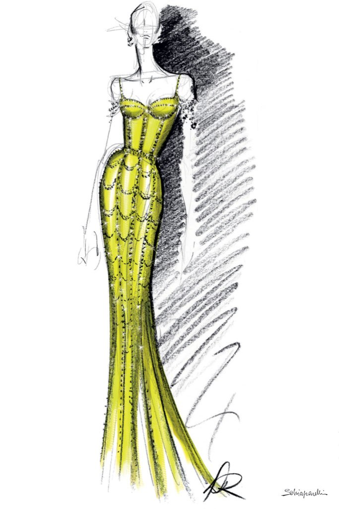 Michelle Obama, schiarparelli, custom dress, sketch, daniel roseberry