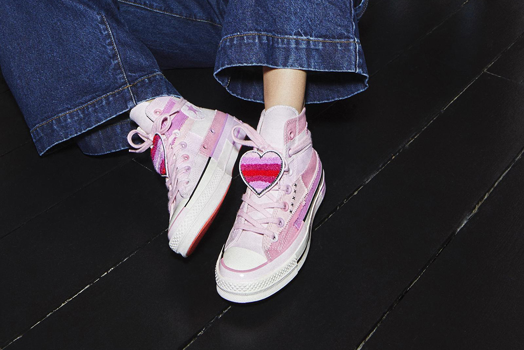 The Converse x Millie Bobby Brown Chuck Taylor high in white.
