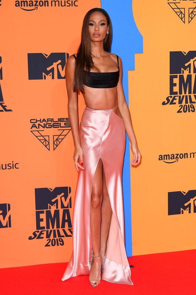 Joan Smalls, brandon maxwell dress, spring 2020, crop top, bralet, skirt, legs, abs, red carpet, celebrity style, 26th MTV EMA, Arrivals, Seville, Spain - 03 Nov 2019Wearing Brandon Maxwell Same Outfit as catwalk model Candice Swanepoel *10403744ai