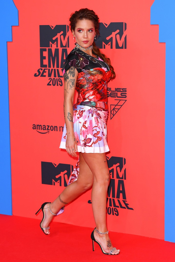Halsey, mtv emas, european music awards, peter pilotto dress, tattoos, celebrity style, red carpet, area jewelry, jimmy choo shoes, sandals, pedicure, legs, Halsey26th MTV EMA, Arrivals, Seville, Spain - 03 Nov 2019Wearing Peter Pilotto Same Outfit as Catwalk Model *10417021c
