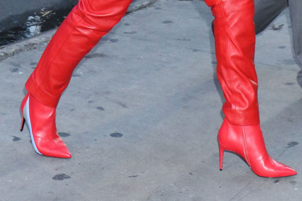 Naomi Scott, red boots, stilettos, pointy-toe boots, red pants, celebrity style, gma, good morning america