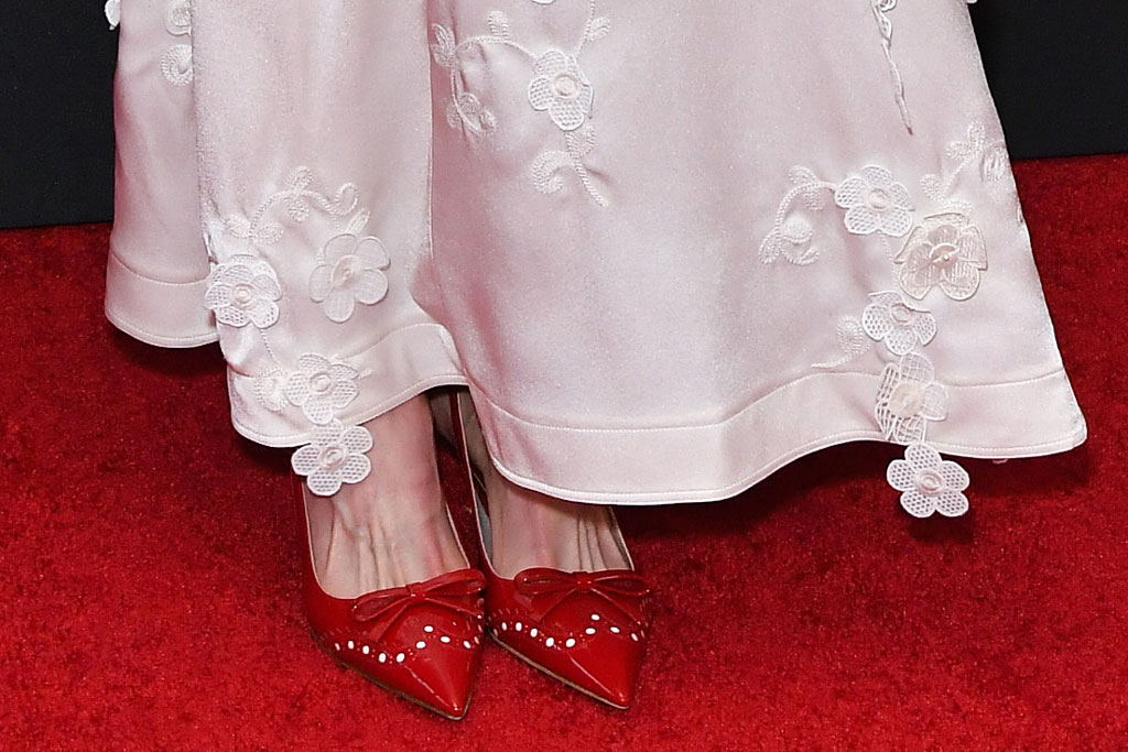 Nicole Kidman, miu miu shoes, red pumps, celebrity style, loewe dress, white gown, celebrity style, red carpet, 23rd Annual Hollywood Film Awards, Arrivals, Beverly Hilton, Los Angeles, USA - 03 Nov 2019Wearing Loewe Same Outfit as catwalk model *10425306as