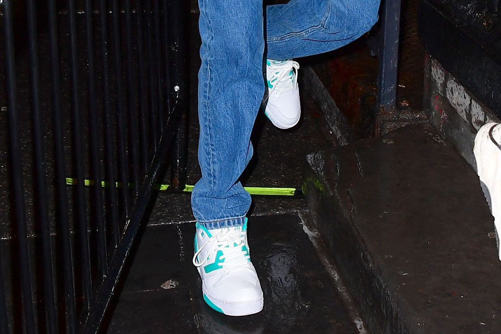 Pete Davidson, converse shoes, basketball sneakers, converse fastbreak, jeans, north face denali jacket, hoodie, celebrity style, street style, new york city