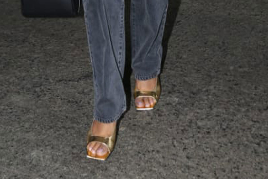 Priyanka Chopra, by far, gold sandals, pedicure, open-toed shoes, celebrity shoe style, mumbai, airport, india